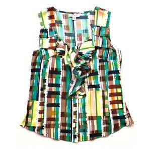 Banana Republic Abstract Plaid Sleeveless Blouse